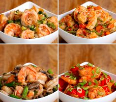 Shrimp And Asparagus Stir Fry (Under 300 Calories) Recipe by Tasty Fish Recipes, Seafood Recipes, Asian Recipes, Chicken Recipes, Dinner Recipes, Healthy Recipes, Tasty Meals, Shrimp Dishes, Fish Dishes