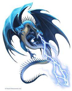 An Idle Mind's Gaming Thoughts: [Starfinder] Kethoth (Blue Dragon Male Dark Fantasy Art, Fantasy Artwork, Dragon Bleu, Blue Dragon, Fantasy Monster, Monster Art, Lightning Dragon, Dragon Illustration, Cool Dragons