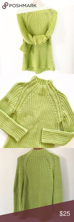 """Nine West Chunky Knit Lime Green Sweater Nine West lime green chunky thick knit cozy sweater. Mock neck, long sleeves, and slight hi-lo style.  • Gently used condition • Cotton acrylic blend  • Approx. measurements when laid flat: 22"""" bust, Back length 32"""" Nine West Sweaters Cowl & Turtlenecks"""