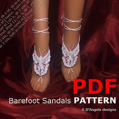 This is a BUTTERFLY barefoot sandals crochet pattern to wear on the beach, pool, at home, at weddings party, festivals or at yoga class.
