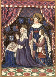 Jeanne de France et Blanche de Navarre, guidées par Saint-Louis (Gaignières 305) -- Dessin d'une peinture murale, Fonds Gaignières [BNF Est. Réserve OA-11] -- «Cette figure de Jeanne de France est peinte sur une cloison de bois derriere l'Autel de la Chapelle de St-Hipolite dans l'Eglise de l'Abbaye de St-Denis, vis a vis celle du Roy Jean, & à derriere elle Blanche de Navarre, belle mere de ce Prince, ayant espousé en 2. nopces Philipes de Valois son pere. Elle sont presentees par… French History, European History, Art History, Medieval Life, Medieval Art, Royal Monarchy, St Denis, Saint Louis, Z Arts