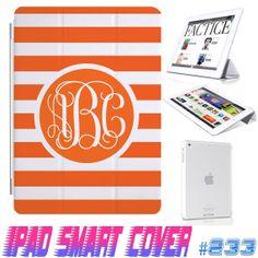 USA Custom Ipad Smart Cover Orange Stripe Monogram  by GeicoDesign, $24.99