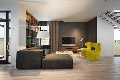 minimalist wooden living room