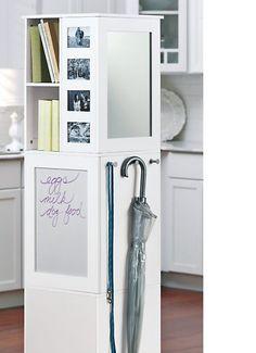 Bernards 7320 White Swivel Storage Cabinet With Corkboard