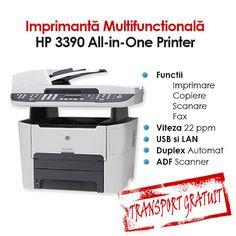 Imprimanta Multifunctionala HP LaserJet 3390 All-In-One Printer, Functii: Imprimare, Copiere, Scanare, Fax, Viteza de printare: 22 PPM, Rezolutie: 1200 x 1200 dpi, Timp de printare:8.5 secunde prima pagina, Interfata: USB si LAN, Alimentare hartie: 250 coli, Greutate: 17.8 kg. Transport Gratuit!
