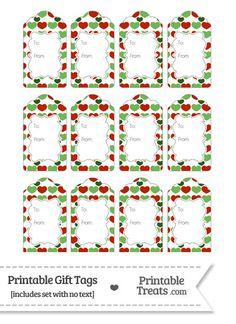 Christmas Hearts Gift Tags from PrintableTreats.com