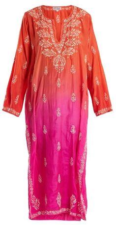 JULIET DUNN Floral-embroidered ombré silk kaftan