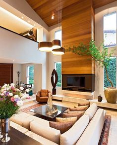#HighCeiling #Livingroom #NaturalLighting #Lamp #Carpet #Flowers #Nature #Elegant #NaturalTones
