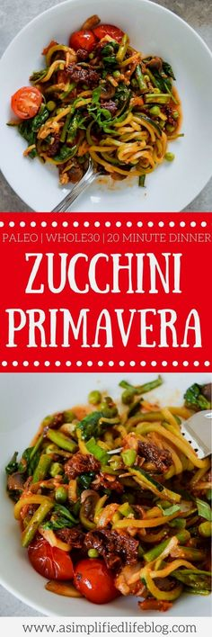 This Zucchini Primavera is bursting with flavor and an easy dinner that comes together in 20 minutes! Pair it with grilled chicken or shrimp, or enjoy as is!