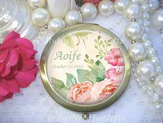 Personalized Mirror,  Antique Bronze Compact Mirror, Cosmetic Mirror, Handbag Mirror,  Bridesmaid Gift, Bridal Gift, Birthday Gift,  Floral. by RubysNeedfulGifts on Etsy