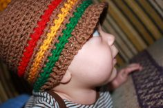 Rasta Baby Brim Hat, 0/3 months, Baby Hippie Clothes, Cool Baby Hat, Skater Hat for Baby, Baby Bob Marley. $10.00, via Etsy.