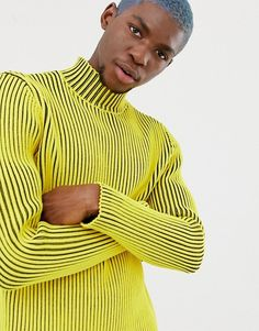 3f3bc8bcbf0 COLLUSION ribbed jumper with roll neck in yellow