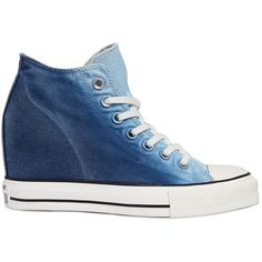 Converse Women 80mm Star Mid Lux Denim Wedge Sneakers (3.013.230 VND) ❤ liked on Polyvore featuring shoes, sneakers, gradient blue, converse sneakers, converse shoes, wedge sneakers, wedges shoes and denim wedge sneakers