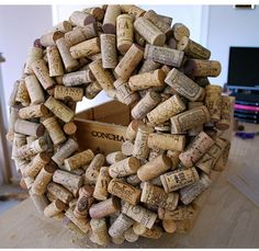 How to Make a Cork Wreath. Would love this for a wine cellar