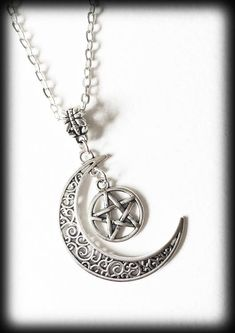 Crescent Moon Necklace with Pentagram, Gothic Wiccan Witch Pagan, Celestial Jewelry, Antique Silver Filigree, Moon Jewelry, Alternative by WhisperToTheMoon on Etsy