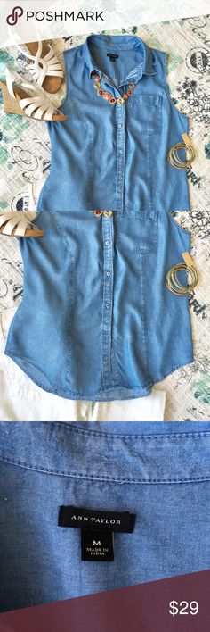💋SO SWEET This 💯% Lyocell denim blouse is so comfortable and goes with so much! Ann Taylor Tops Button Down Shirts