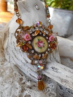 Vintage assemblage necklace enamel roses topaz ab rhinestones glass flowers Victorian assemblage one-of-a-kind romantic style necklace by triolette on Etsy