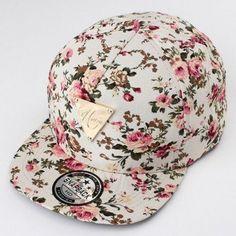 cc7e82d1e1d Men Women Floral Flower Adjustable Snapback Baseball Hats Flat Hip Hop Cap  Baseball Hats