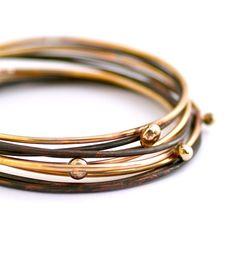 Deschutes Brass & Copper Bangle Set