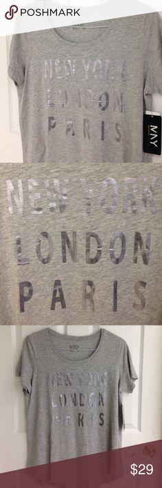 Marc New York - NEW YORK LONDON PARIS T-shirt Marc New York - Andrew Marc T-shirt size Large 60% cotton 40% Modal NWT never worn. Short sleeves. Foil like lettering. Andrew Marc Tops Tees - Short Sleeve