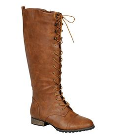 Take a look at this Tan Outlaw-13 Lace-Up Boot by Breckelle's on #zulily today!