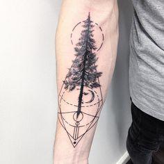 Pine Tree Tattoo with Geometric Elements by Ste Artno