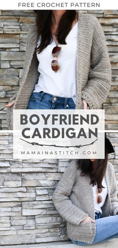 Easy Crochet Sweater Pattern – Boyfriend Cardigan - This is a completely, beginner friendly, free crochet pattern for an easy crocheted sweater! Cardigan Au Crochet, Knit Cardigan Pattern, Sweater Knitting Patterns, Crochet Sweaters, Jacket Pattern, Crochet Cardigan Pattern Free Women, Crochet Jumpers, Sweater Cardigan, Crochet Shrugs