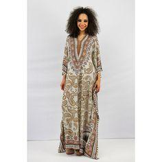 Vintage Kaftan / Dashiki / 70's Sheer metallic paisley maxi muumuu / Festival dress free size