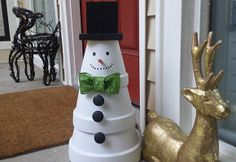 This funny little DIY terra cotta snowman project was created by our How To Associate Christine. Click through to find out how to make your own...