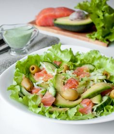 Salad with salted trout and avocado