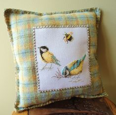 love the color combination - and the needlepoint. Wish I had seen this one before it sold. Cross Stitch Pillow, Cross Stitch Bookmarks, Cross Stitch Bird, Cross Stitching, Embroidery Flowers Pattern, Diy Embroidery, Cross Stitch Embroidery, Cross Stitch Patterns, Cross Stitch Beginner