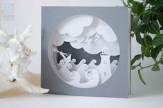 "Papercut Template Tunnel card ""Storm"", Instant Download, Cut&Glue Own 3d Pop-up Card"