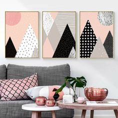 Abstract Geometric Mountain Canvas Poster Art Prints Wall Painting Home Decor - Abstract Poster - Ideas of Abstract Poster Canvas Poster, Canvas Art Prints, Poster Prints, Home Wall Decor, Room Decor, Geometric Mountain, Diy Painting, Canvas Ideas, Abstract Art