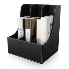 3-Slot Office Desktop Book Magazine File Rack Box Organizer Stand Case File Shelf Wood Structure PU Leather Brown