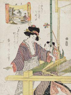 Silkmaking. Ukiyo-e woodblock print, about 1840's, Japan, by artist Kikugawa Eizan.