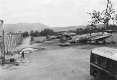 German bombers Heinkel He-111 in the Norwegian city of Trondheim airport
