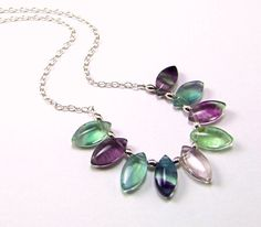 Multicolor Fluorite Sterling Silver Necklace  by TheSilverBear, $65.00