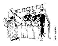 Caricatura de VIRGIL MILITARU, publicata in almanahul PERPETUUM COMIC '97 editat de URZICA, revista de satira si umor din Romania