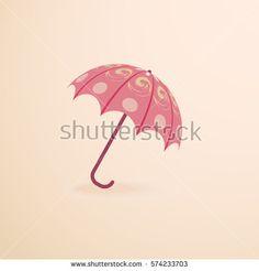 Pink umbrella, vector illustration.