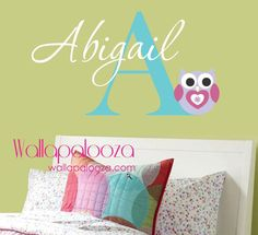 Girls Name Wall Decal - Childrens Wall Decals - Personalized Name Vinyl Wall Art- Owl Decal