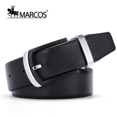 c649dfdd457 New MARCOS L Designer Belts Men High Quality Luxury V Belt 2016 First Layer  of Leather Cow Belt Buckle Fashion Black