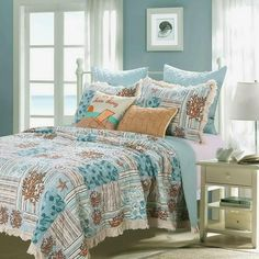 Beach Ocean Seashell Coral Tropical Nautical Blue Green Seafoam Reversible Quilt Set Full Queen S ize. Create a coastal feel in your room with this luxury beach inspired fringed bedspread quilt set. Quilt Sets Queen, Striped Quilt, Green Quilt, Stylish Bedroom, Key West, Bed Pillows, Bedroom Decor, Quilts, Queen Size