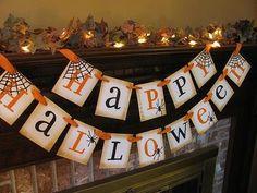 DIY Happy Halloween Banner for the Foyer