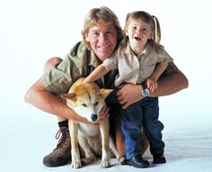 Steve with daughter and a dangerous dingo that could bite hand off