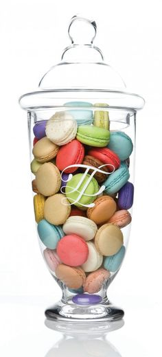 macarons in a glass-lidded jar.