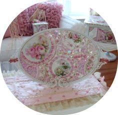 Beautifully Jeweled Fancy Tray-Mosaic Romancing rose shabby chic pink roses jeweled tray