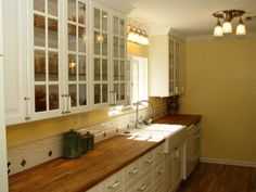 Love the wood counters and the farm sink.