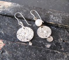 Textured Tin Asymmetric Earrings Arty Look. by eaststreettins