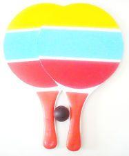 WOODEN BEACH SMASHBALL PADDLE BALL paddleball RACKET GAME MATKOT TRK# AVAILABL