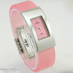Croton Ladies Watch Pink Silicon Rubber Band Silver Tone Case WR 3 ATM SuzePlace.com